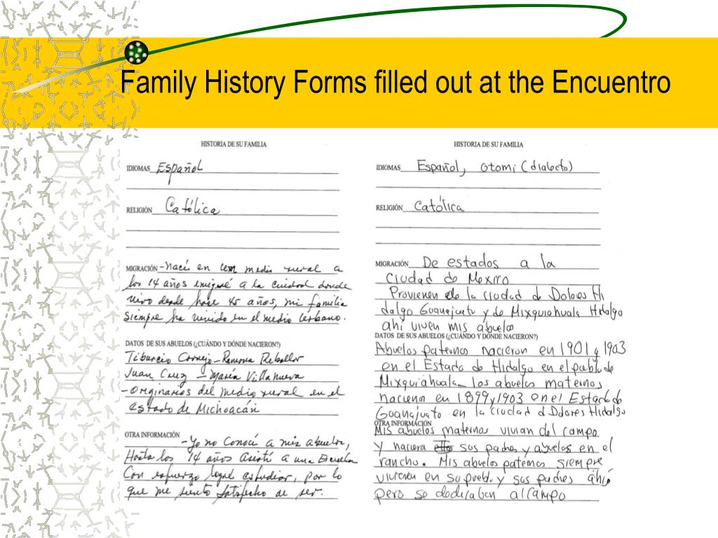 Family History Forms filled out at the Encuentro