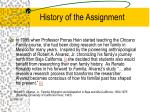 history of the assignment
