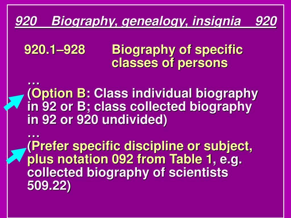 920    Biography, genealogy, insignia    920