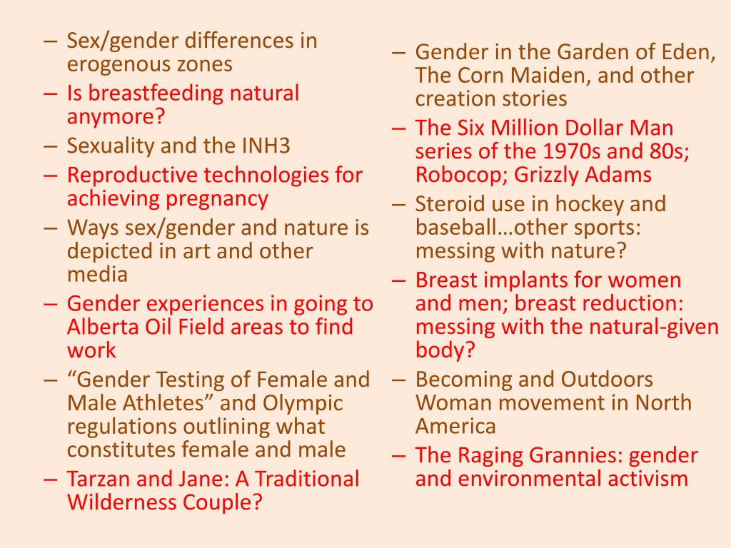 Sex/gender differences in erogenous zones