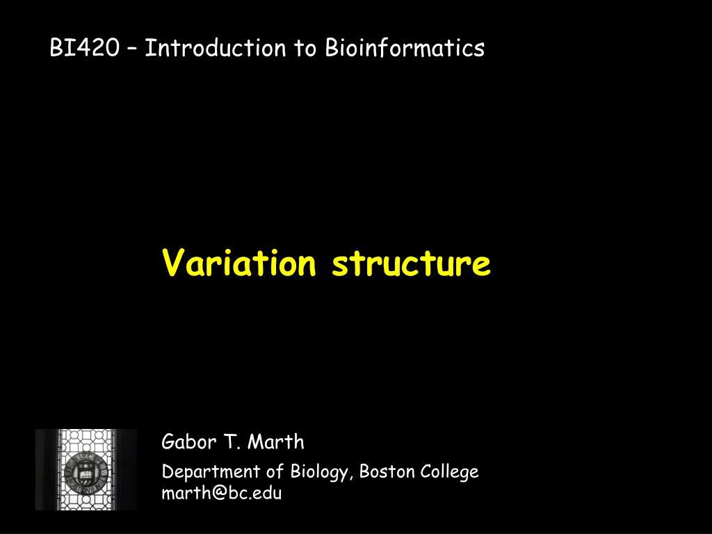 BI420 – Introduction to Bioinformatics