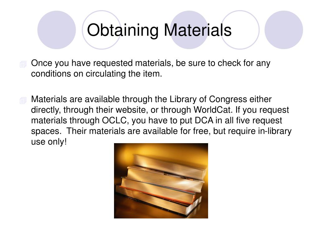 Obtaining Materials