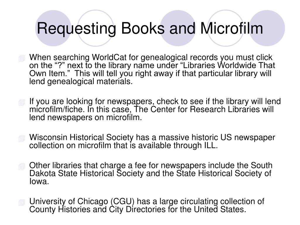 Requesting Books and Microfilm