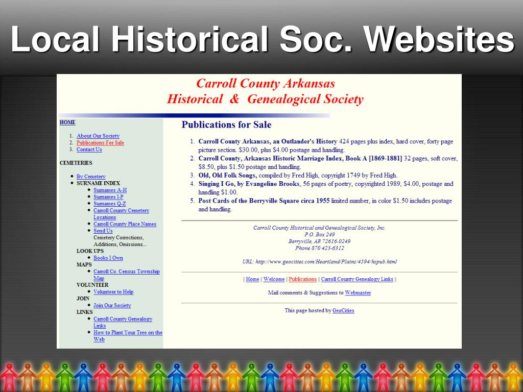 Local Historical Soc. Websites
