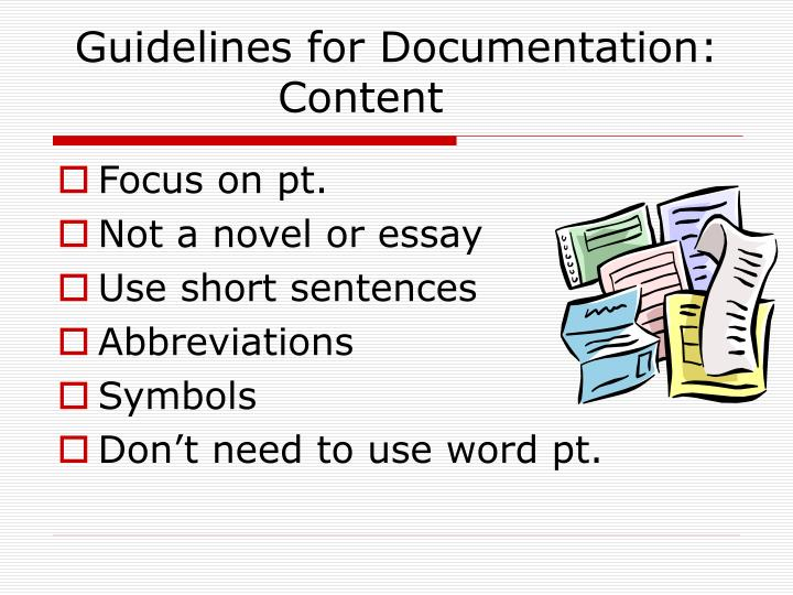 Guidelines for Documentation: Content