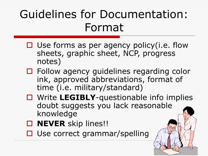 Guidelines for Documentation: Format