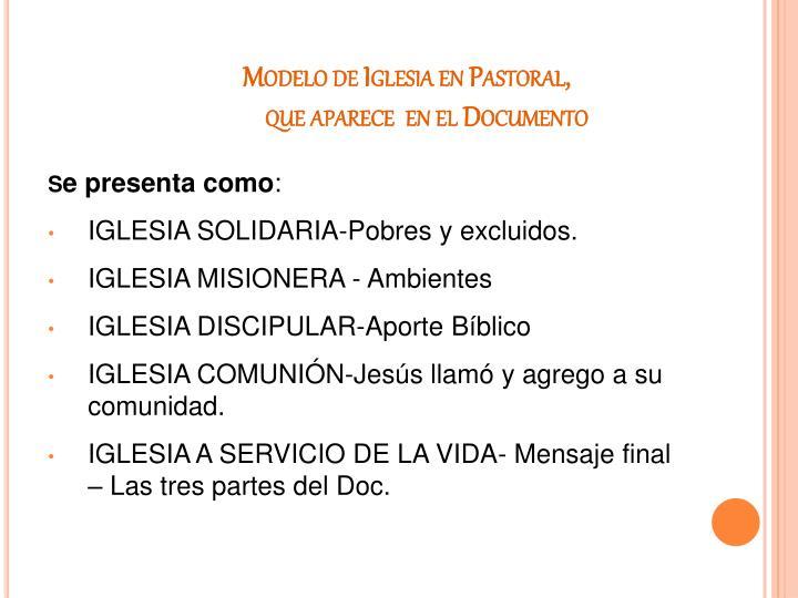 Modelo de Iglesia en Pastoral,