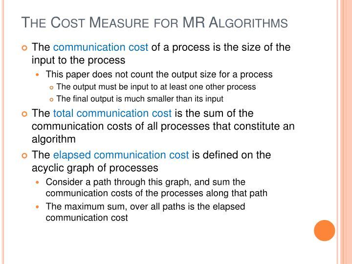 The Cost Measure for MR Algorithms