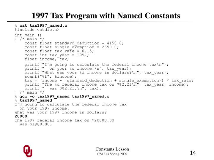 1997 Tax Program with Named Constants