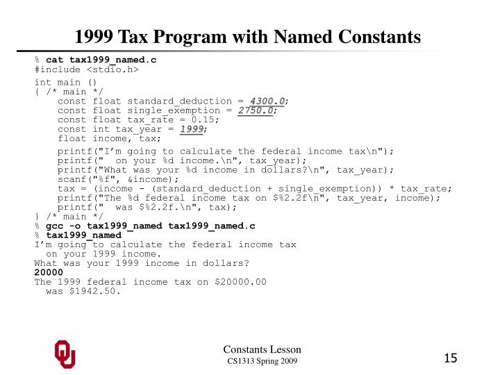 1999 Tax Program with Named Constants