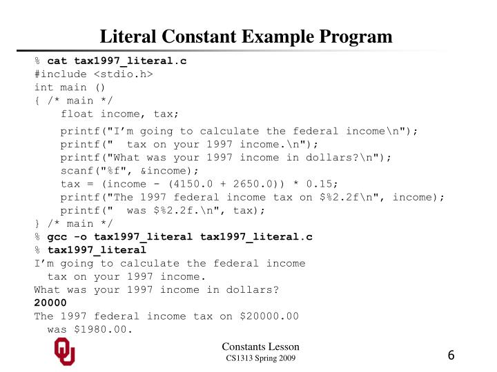 Literal Constant Example Program