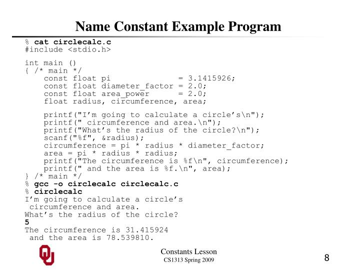 Name Constant Example Program