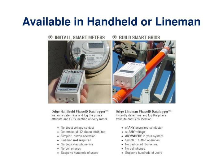 Available in Handheld or Lineman