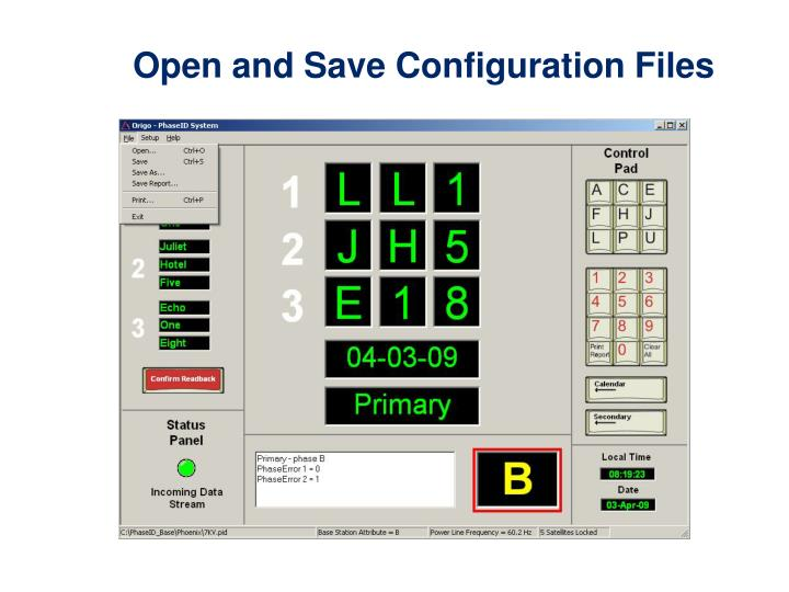 Open and Save Configuration Files