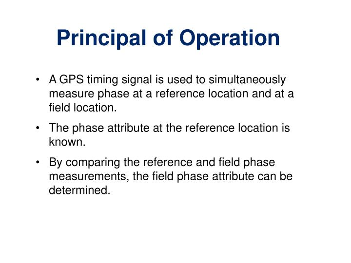A GPS timing signal is used to simultaneously measure phase at a reference location and at a field location.