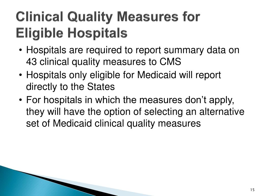 Clinical Quality Measures for Eligible Hospitals