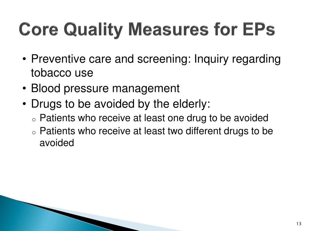 Core Quality Measures for EPs