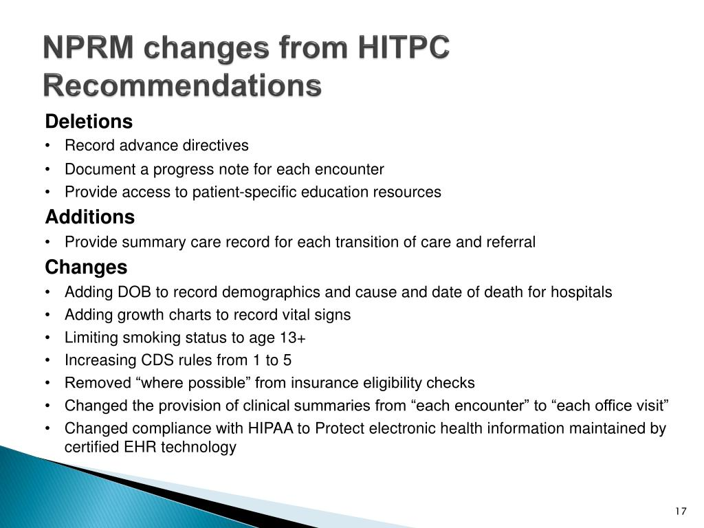 NPRM changes from HITPC Recommendations