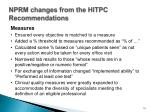 nprm changes from the hitpc recommendations