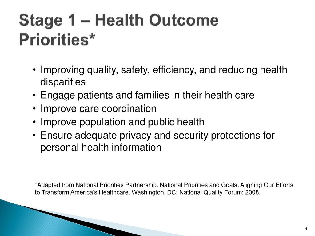 Stage 1 – Health Outcome Priorities*