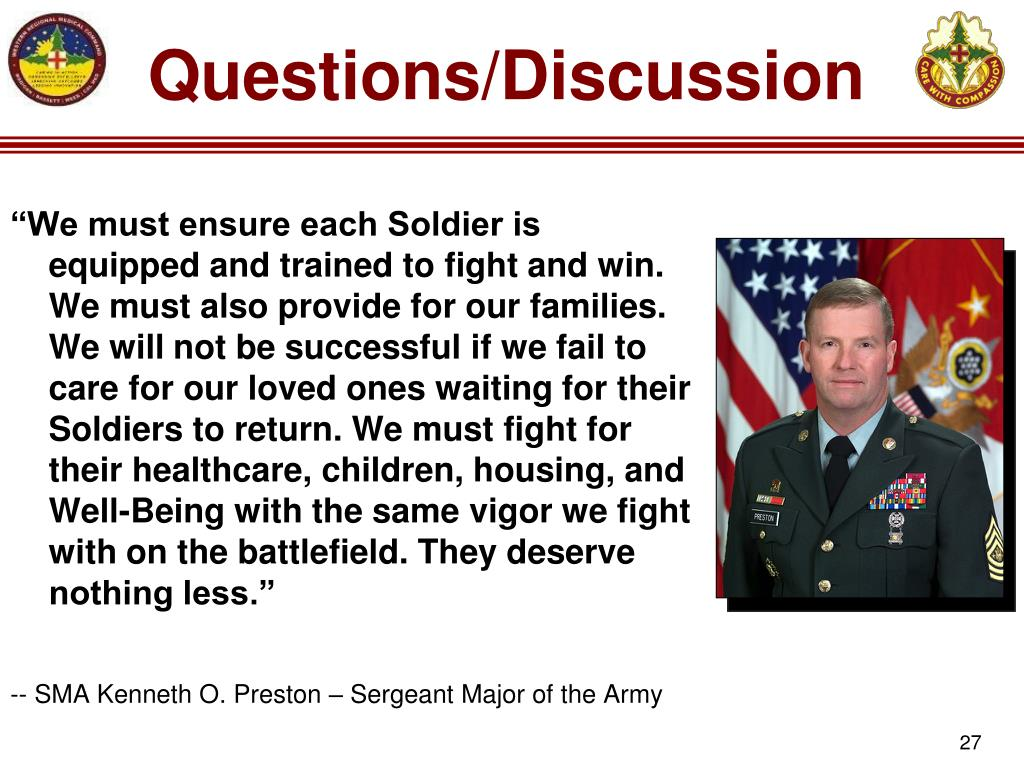 """""""We must ensure each Soldier is equipped and trained to fight and win. We must also provide for our families. We will not be successful if we fail to care for our loved ones waiting for their Soldiers to return. We must fight for their healthcare, children, housing, and Well-Being with the same vigor we fight with on the battlefield. They deserve nothing less."""""""