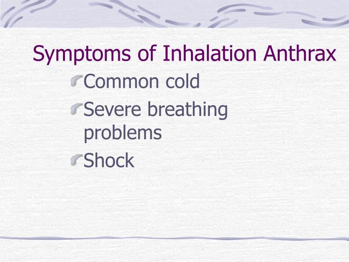 Symptoms of Inhalation Anthrax