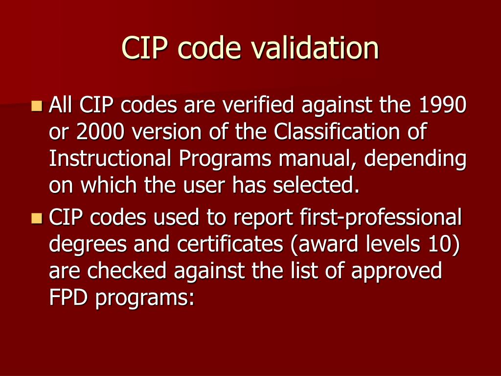 CIP code validation