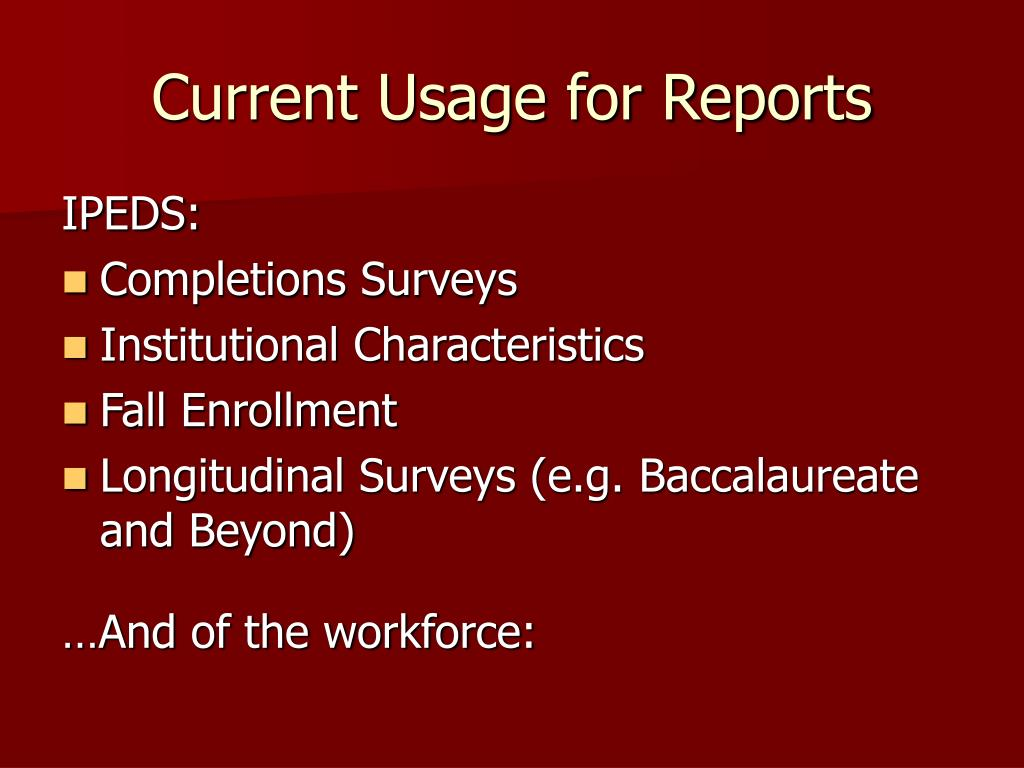 Current Usage for Reports