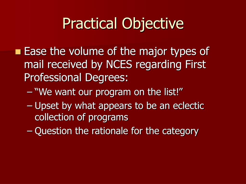 Practical Objective