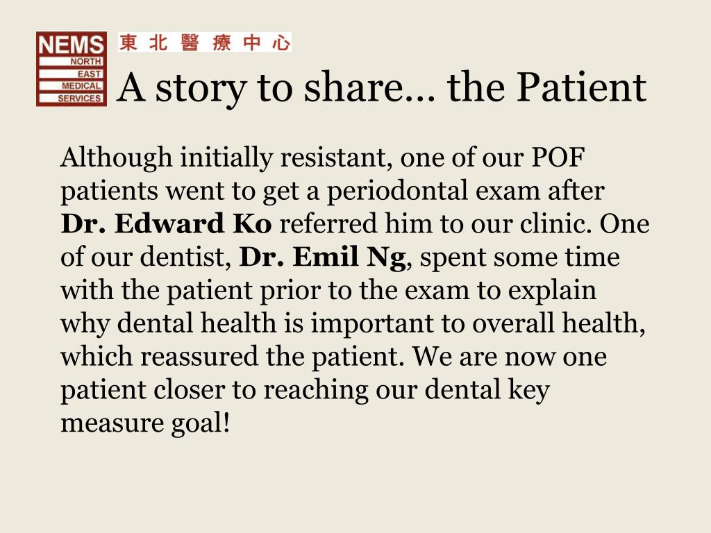 A story to share… the Patient