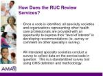 how does the ruc review services