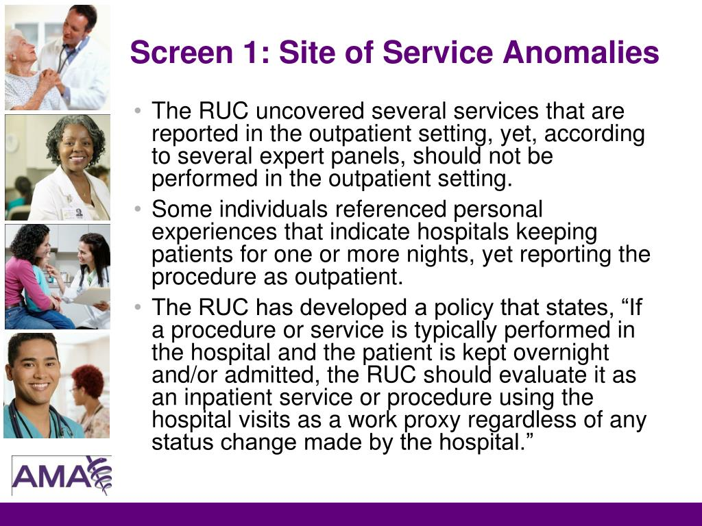 Screen 1: Site of Service Anomalies