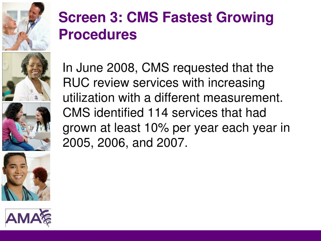 Screen 3: CMS Fastest Growing Procedures