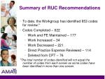 summary of ruc recommendations