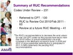 summary of ruc recommendations43