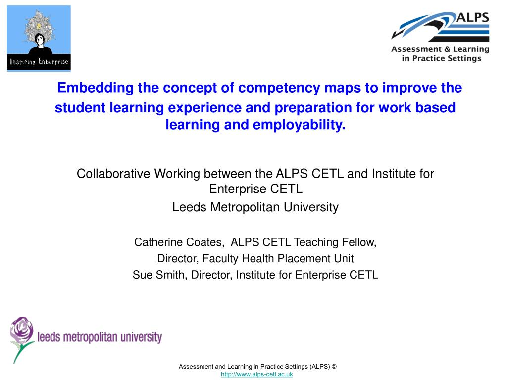 Embedding the concept of competency maps to improve the student learning experience and preparation for work based learning and employability.