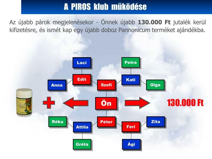 A  PIROS  klub  működése