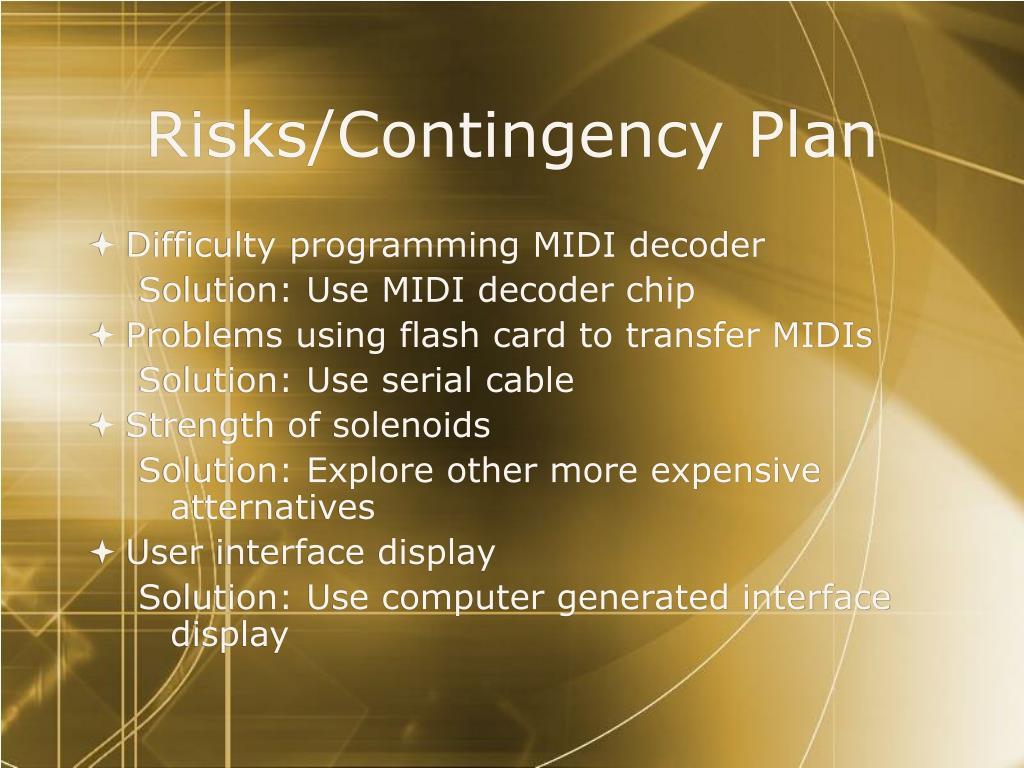 Risks/Contingency Plan