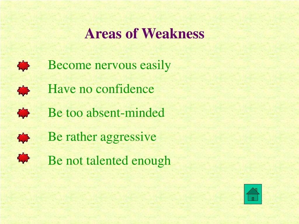 Areas of Weakness