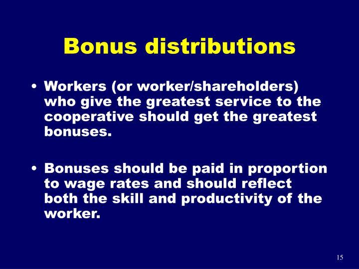 Bonus distributions