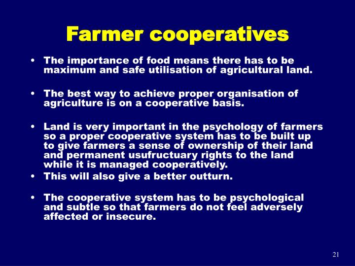 Farmer cooperatives