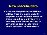 new shareholders