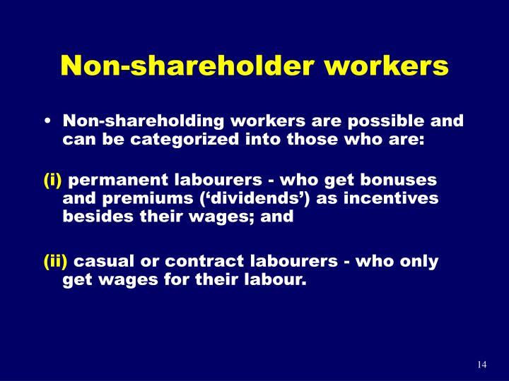 Non-shareholder workers