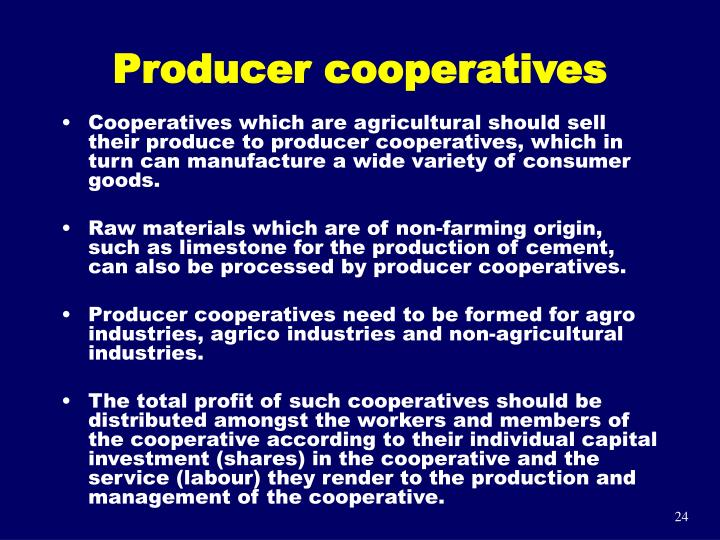 Producer cooperatives
