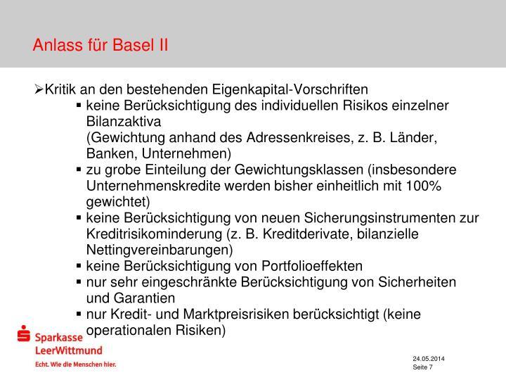 Anlass für Basel II