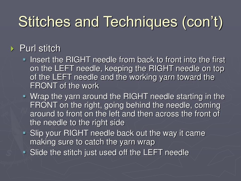 Stitches and Techniques (con't)