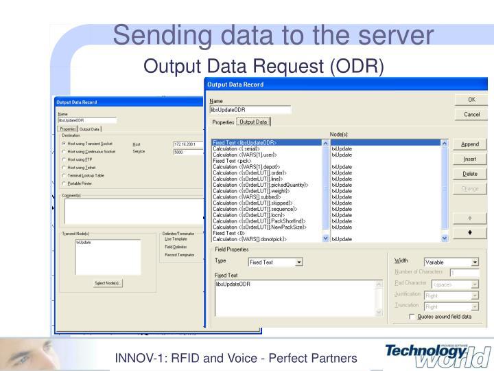 Sending data to the server