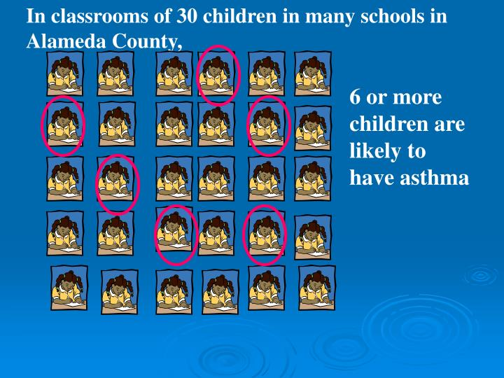In classrooms of 30 children in many schools in Alameda County,
