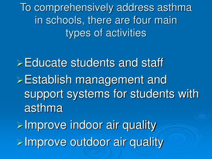 To comprehensively address asthma