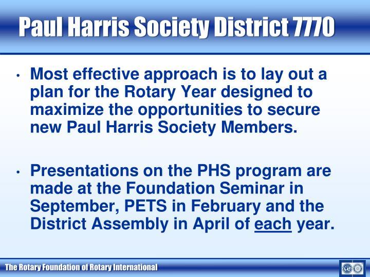 Paul Harris Society District 7770
